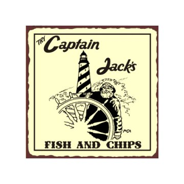 Try Captain Jack's Fish and Chips Metal Art Sign