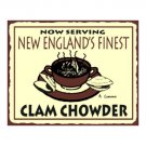 Now Serving New England's Finest Clam Chowder Metal Art Sign