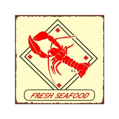 Fresh Seafood Lobster Metal Art Sign