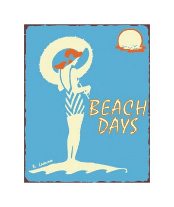 Beach Days Metal Art Sign