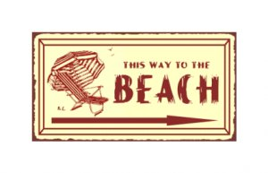 This Way to the Beach Metal Art Sign