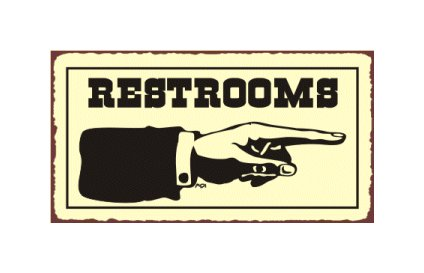 Restrooms to the Right - Metal Art Sign