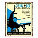 Flying Ace Academy - Take Hold Take Flight - Airplane Sign - Metal Art Sign
