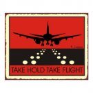 Take Hold Take Flight - Airport Runway - Red Airplane Sign - Metal Art Sign