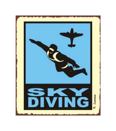Sky Diving - Airplane Sign - Metal Art Sign