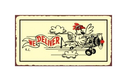 We Deliver - Airplane Sign - Metal Art Sign
