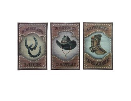 Country Western Cowboy Signs - Horseshoe Luck, Cowboy Welcome, Western Country - Set of 3 Tin Signs