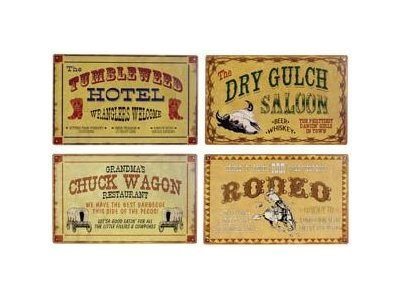 Old Wild West Cowboy Country Western Tin Signs - Set of 4 Signs