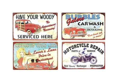 Automobile and Motorcyle Signs - Drive In - Woody Serviced - Car Wash - Repair - Set of 4 Tin Signs