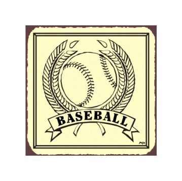 Baseball in Wheat - Metal Art Sign