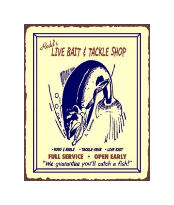 Redd's Live Bait and Tackle Shop - Metal Art Sign