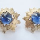 Trifari Faux Sapphire Cabochon Starburst Earrings c. 1960s