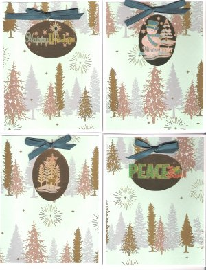 Teal and gold Christmas Cards - set of 12 - FREE shipping!
