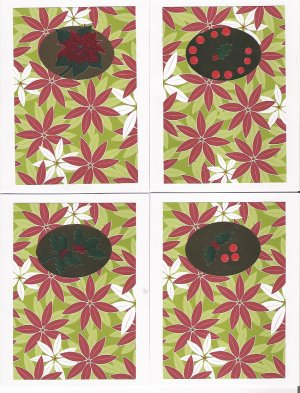 Poinsettia Christmas Cards - set of 12 - FREE shipping!