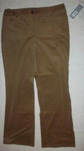 NWT Anne Klein New York Microcord Pants 16 x32 $175 NEW