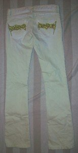 NWT ODYN Gold Embellish Pale Mint Jeans 27 32 x34 $185