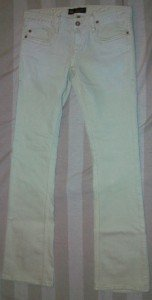 NWT ODYN Gold Embellish Pale Mint Jeans 28 33 x34 $185