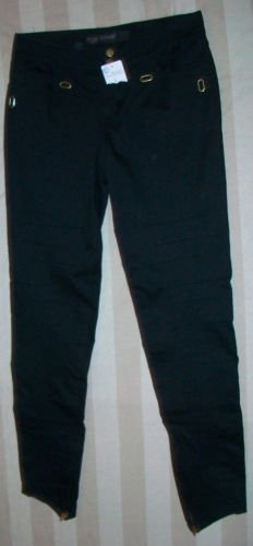 NWT YIGAL AZROUEL Skinny Black Pin Tuck Pants 10 $505