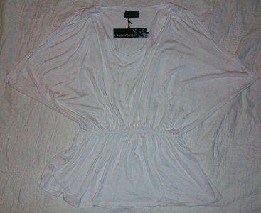 NWT Susie Mooratoff Cream Drape Sleeve Top L NEW $185