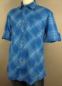 NWT Full Circle Wild Short Sleeve Blue Shirt L NEW $85