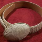 NEW Max Leather Women Genuine Crocodile Custom Buckle Cream Belt 26 $495