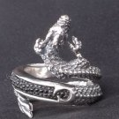 925 SILVER STINGRAY COOL DRAGON BIKER RING SZ 10