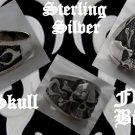 Sterling Silver Skull Bone Flame Biker Ring US 10.75