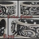 TRIBAL FLOWER ROSE BIKER LADIES SILVER BIKER RING 10