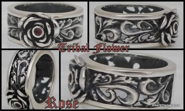 TRIBAL FLOWER ROSE BIKER LADIES SILVER BIKER RING 10.75