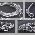FANCY CHAIN CLAW DRAGON 925 SILVER BIKER BRACELET 8""