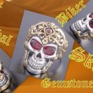 RED EYE STERLING SILVER SKULL BIKER RING US sz 9.5