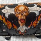 CARVED SKULL GOTHIC CROSS FLAME FRONT BAR LEATHER BAG