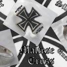925 SILVER MALTESE CROSS SOLID BIKER KING RING US 11.25