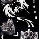 925 Silver Dragon Cross Gemstone BIKER RING US sz 8.5