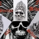 SKULL WARRIOR FEATHER BIKER 925 SILVER RING US SZ 11.5