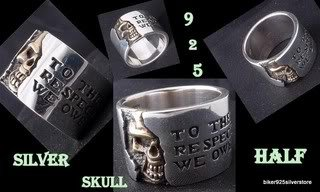 925 SILVER HALF SKULL BAND BIKER KING RING US SZ 12.5