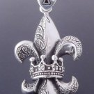 Sterling Silver Fleur Crown Maltese Cross tribal Biker