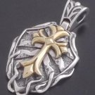 Silver Gothic Cross Tribal Biker Gold Knight Pendant