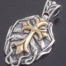 Silver Gothic Cross Tribal Biker Gold Knight Pendant
