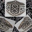 Custom Sterling Silver Tribal Tattoo Biker Ring sz10.75