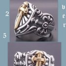 Sterling Silver Tribal Cross Rock Biker Ring sz 10.25