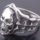Sterling Silver Skull Bone Flame Biker Ring US sz 10.5