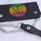 NEW CALF LEATHER REAGGIE MUSIC LEAF STEEL CHAIN WALLET