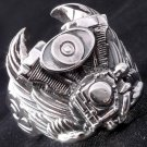 Sterling Silver Tribal Piston Wing Biker Ring sz 9