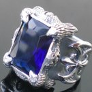KING CLAW STERLING SILVER BATTLE AXE GEM RING sz 11.5