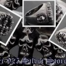 925 SILVER CROSS SUPPER SKULL BIKER KING RING sz 10.75