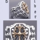 Sterling Silver Gothic Cross Biker Templar Ring sz 9.75
