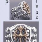 Sterling Silver Cross Biker Templar Rock Ring sz 9.25