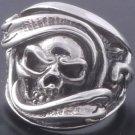 925 Silver Solid Gecko Skull Biker Ring US sz 10.5
