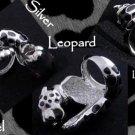 925 Silver Leopard Enamel Print Ladies Ring US sz 7